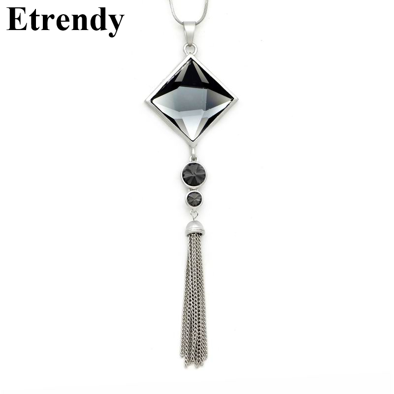 Top quality square crystal pendant long tassel necklace women fashion jewelry wholesale