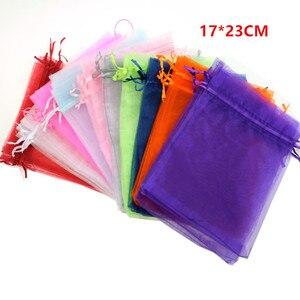 Image 1 - En gros Organza sac 17x23 cm bijoux emballage affichage pochettes mariage noël cadeau sacs bijoux sacs et pochettes 100 pcs/lot