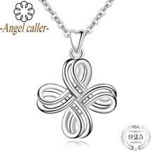 b2176e3ee5a8 Ángel 925 astilla amor colgante collar de joyería fina Celtics nudo de amor  colgantes mujeres cadena del cuello para el regalo d.