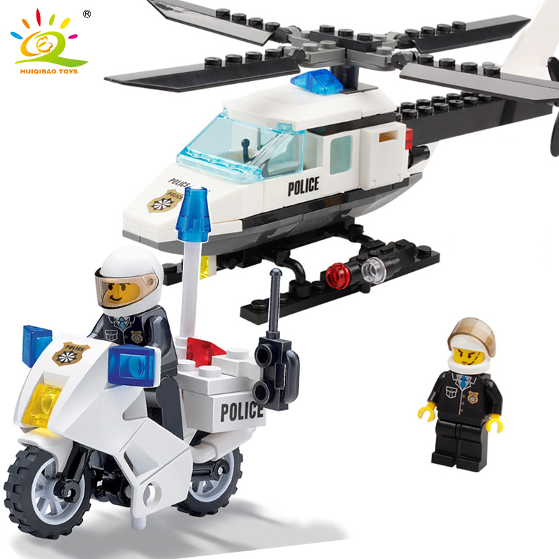 HUIQIBAO TOYS City Police Helicopter Airplane Blocks Bricks Building Block Compatible Legoed Educational Gift Toys For Children gudi block city large passenger plane airplane block 856 pcs bricks assembly boys building blocks educational toys for children