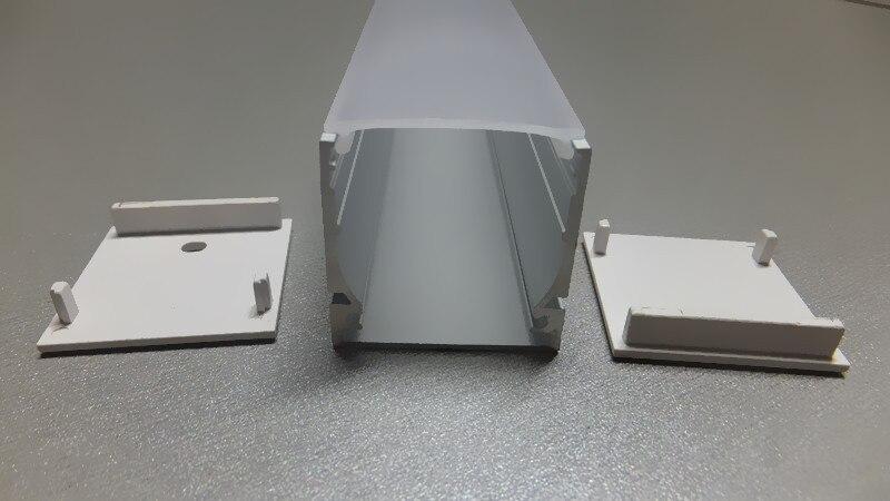 Hliníkový profil 100CM, hluboký, velký čtverec pro LED pásek na straně se světlem s opálovým difuzorem, včetně koncových uzávěrů, doprava zdarma