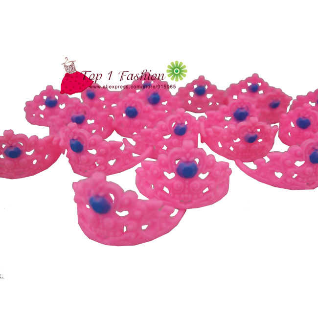 Free Shpping 10pcs pink coloration head crowns for barbie doll accent