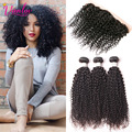 Brazilian Virgin Hair With Frontal Closure Bundle 8a Kinky Curly Virgin Hair With Closure Curly Lace Frontal With 3 Bundles 1B