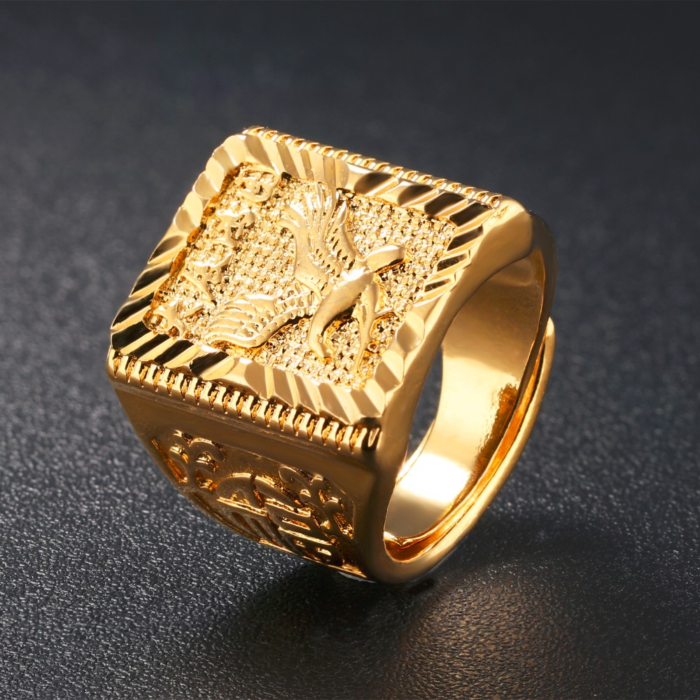 Pure Gold Color Engraved Eagle Men\'s Ring Hip hop Jewelry Cool Big ...