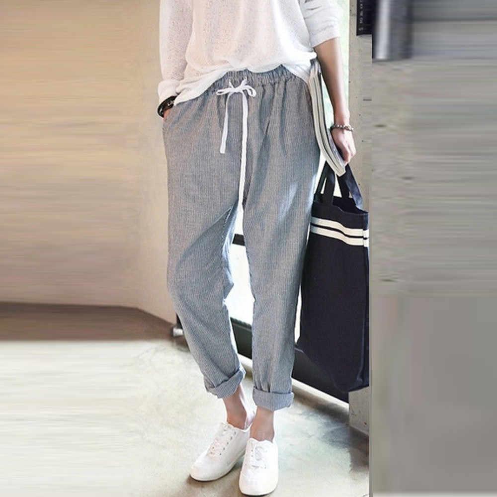 158f5533 Telotuny 2018 женщин Штаны модная летняя Англия Стиль женщин Штаны  свободные штаны женские хлопок белье полосатые
