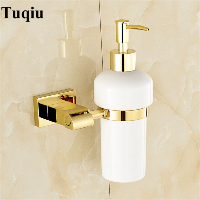 Liquid Soap Dispensers Luxury Gold Color Soap Dispenser Wall Mounted With Frosted Glass Container bottle Bathroom Products-in Liquid Soap Dispensers from Home Improvement    1