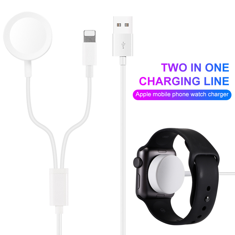 Fast 2 in 1 Smart Watch Wireless Charger For Apple Watch    Series 1 2 3 4 USB Magnetic Charging Cable For iPhone 7 8 X Max