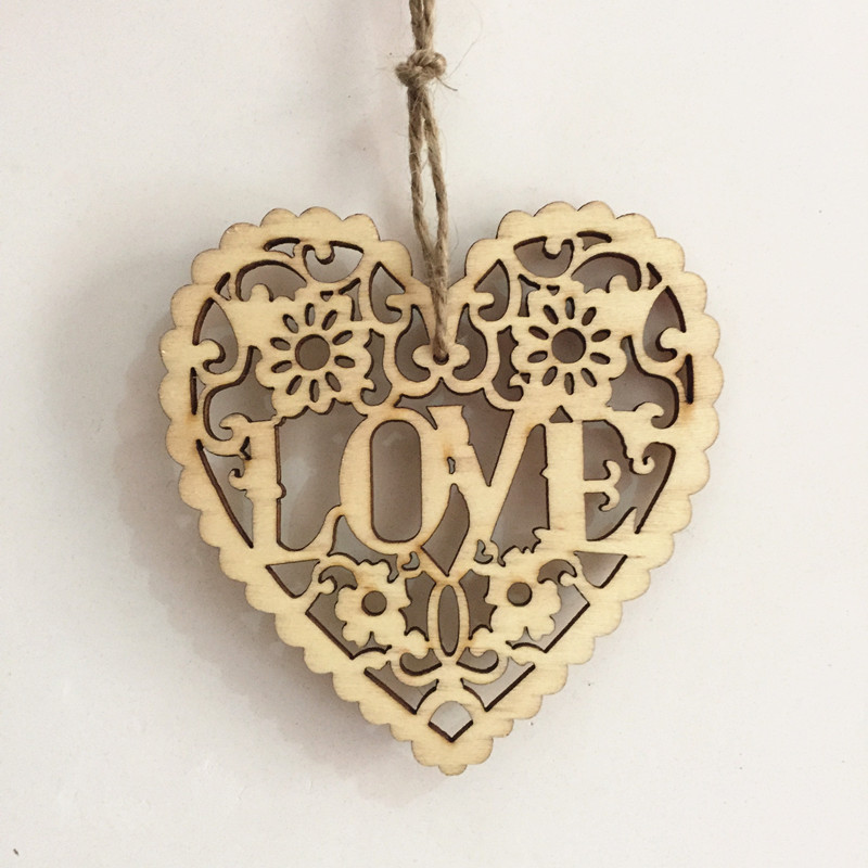 20pcs 8cm Natural Love Heart Pendants With Jute Carved Wedding Embellishments Shabby Chic Crafts Home Decorations