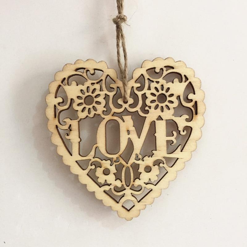 20pcs 8cm natural love heart pendants with jute carved wedding embellishments shabby chic crafts. Black Bedroom Furniture Sets. Home Design Ideas