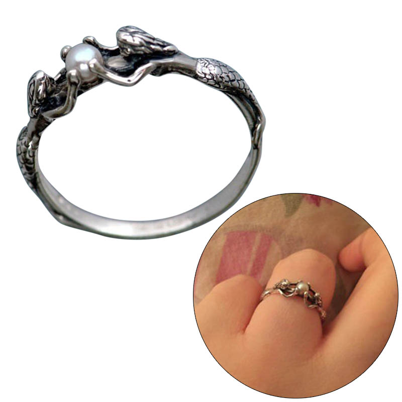 Ring Circle Finger Hoop Bead Mermaid Present For Women Lady Bride Wedding Engagement M8694