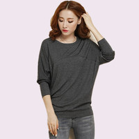 Plus Size 4XL 5XL T Shirt Women Autumn Winter Batwing Long Sleeve T Shirt Oversize Ladies