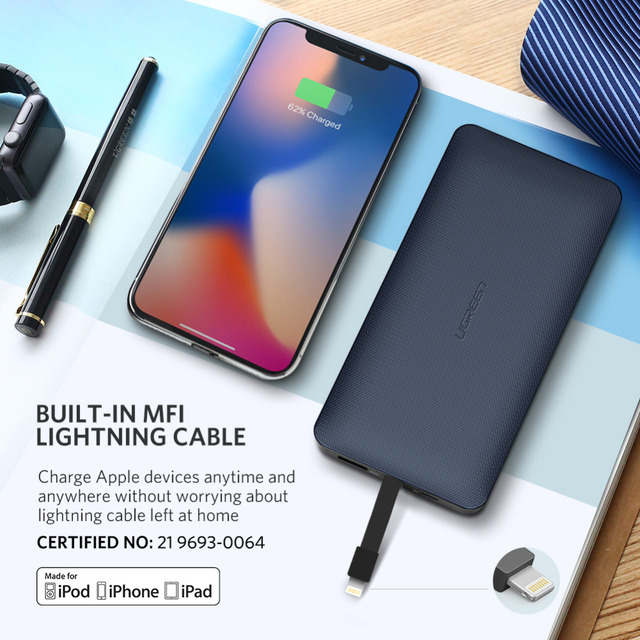Ugreen Power Bank 10000mAh For iPhone X 7 Xiaomi External Battery Pack Powerbank For USB iPhone Cable Portable Charger Poverbank 1