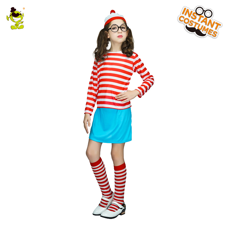 Girls Costumes Kids Costumes & Accessories Girls Wheres Wally Now Red&white Striped Costumes Kids Smart Wally Imitation Clothes For Christmas Halloween Party