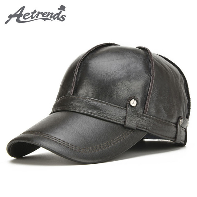 [AETRENDS] 2017 New 100% Leather Baseball Cap Men Warm Winter Hats with Ears Flap Z-5301