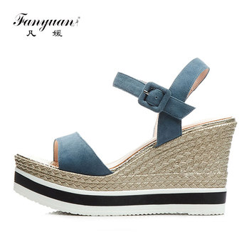 Fanyuan Leather Sandals Women Wedge Summer Shoes Suede Platform Sandals High Heels Concise Buckle Womens Shoes Summer Black Blue