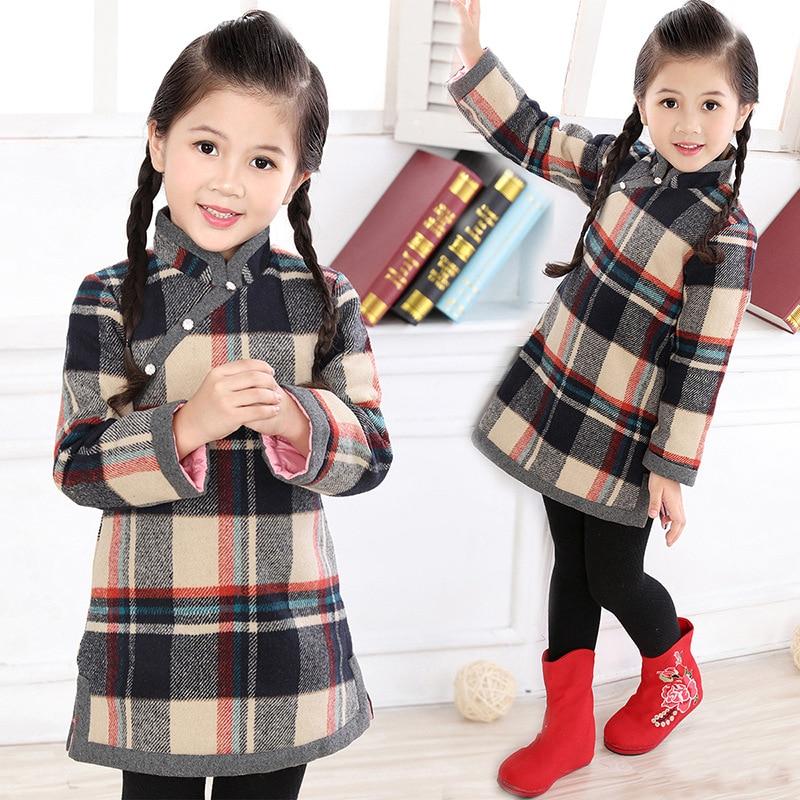 Automne hiver chinois en vedette Qipao filles robes à manches longues enfants chauds robe vêtements bébé enfant en bas âge enfants