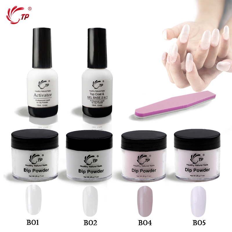 TP 28g(1OZ) Dip Powder Starter Kit Base&Top 2 in 1 No Lamp Cure Gel Activator Clear Pink Nail Dip Powder Natural Dry Nail Salon tp 4pcs lot nail dip powder set glitter diping powder nails healthy color nail art powder natural dry nail salon 10g box