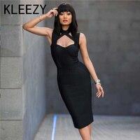 2016 Summer Brand New Quality Sexy Black Bodycon Dress Strap Midi Split On Back Bodycon Women