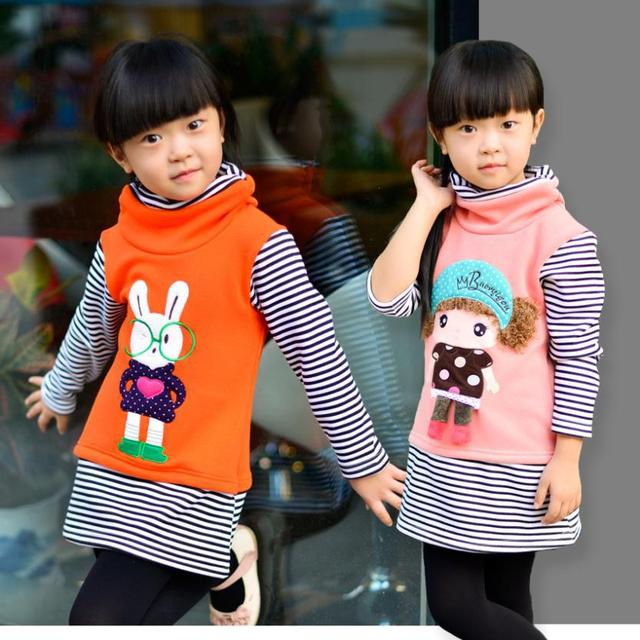 New 2014 spring autumn cotton Hoodies Sweatshirts  cartoon stripe coat sweater render upper garment  for girls