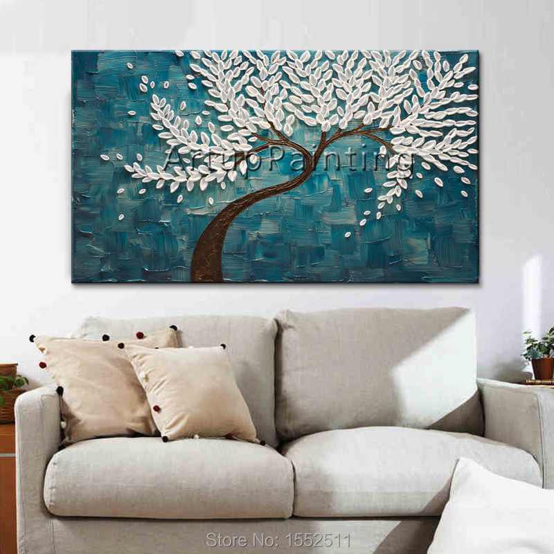 Canvas Painting of 3D texture flowers Hand Painted Wall Pictures For Living  Room cuadros decoracion home decor