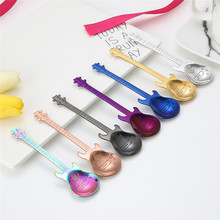 1Pcs Stainless Steel Cartoon guitar Spoon Creative Milk Coffee Spoon Ice Cream Candy Teaspoon accessories(China)