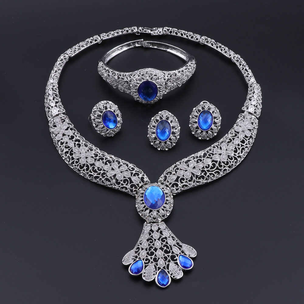 OEOEOS Jewelry Sets For Women Wedding Flower African Beads Jewelry Set Necklace Earrings Indian Ethiopian Jewellery