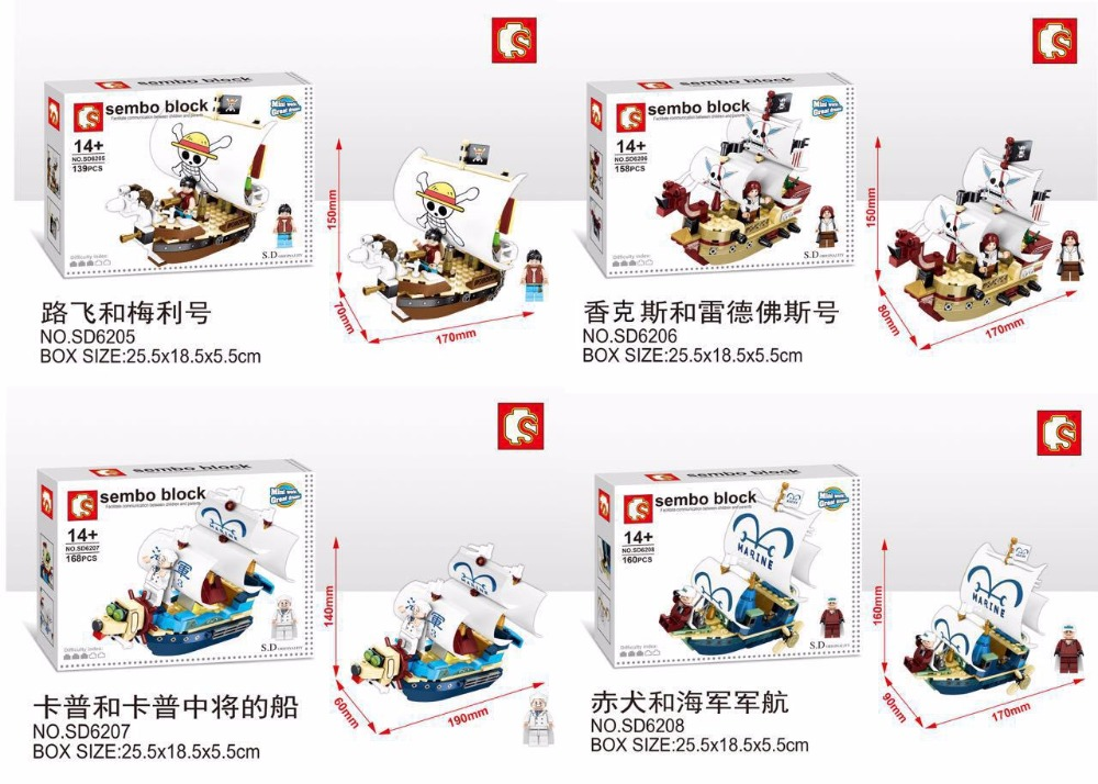 4pcs SD6205-SD6208 Mini boat Series OP characters ship builds