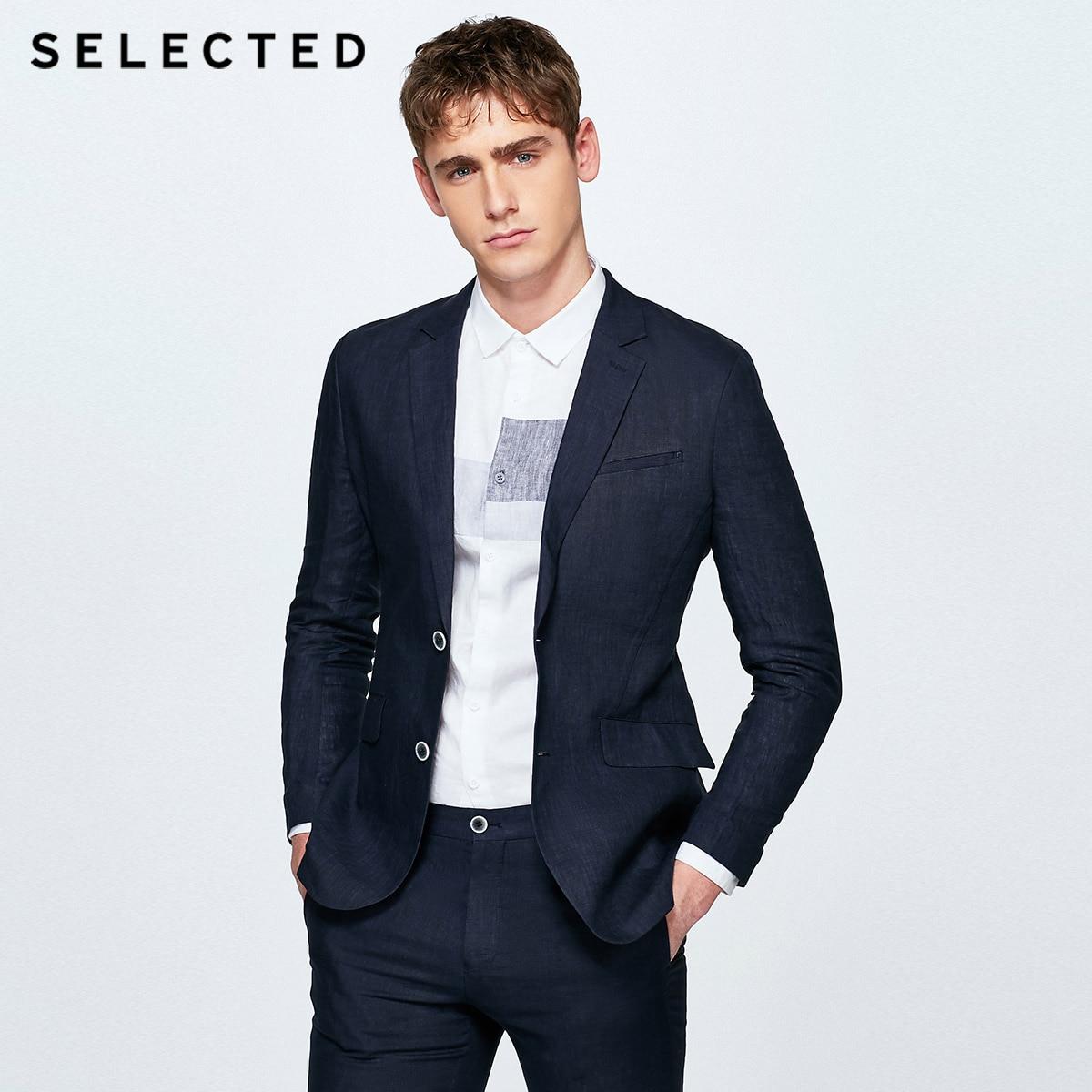 SELECTED Men's Flax Regular Slim-Fit Blazer 100% Linen Business Casual Jacket Clothes S   418272503