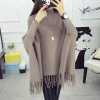 H SA 2016 Autumn Winter Batwing Sweaters Poncho Turtleneck Women Tassel Pullover And Sweater Jumper Loose