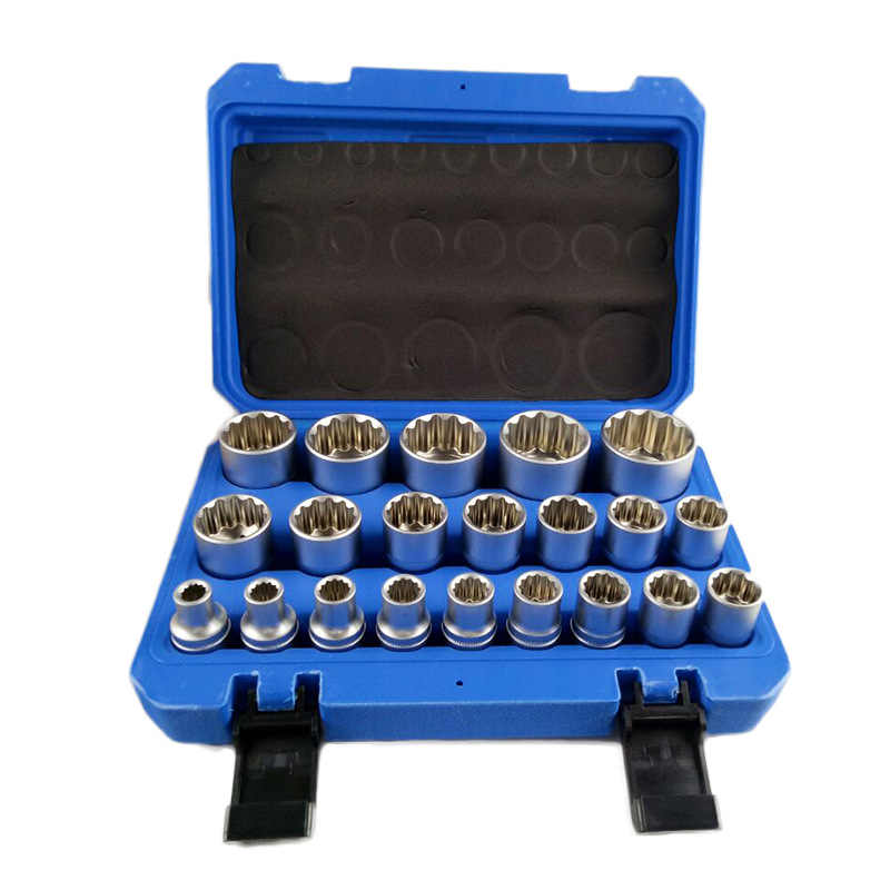 "The new auto repair 21 Pcs/sets of twelve angle gear lock sets Big fly 1/2"" Sockets set of chrome vanadium steel"
