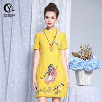 Ba Lin big yards dress 2018 summer new Europe and the United States fat sister F2900911 embroidered collar lace dress