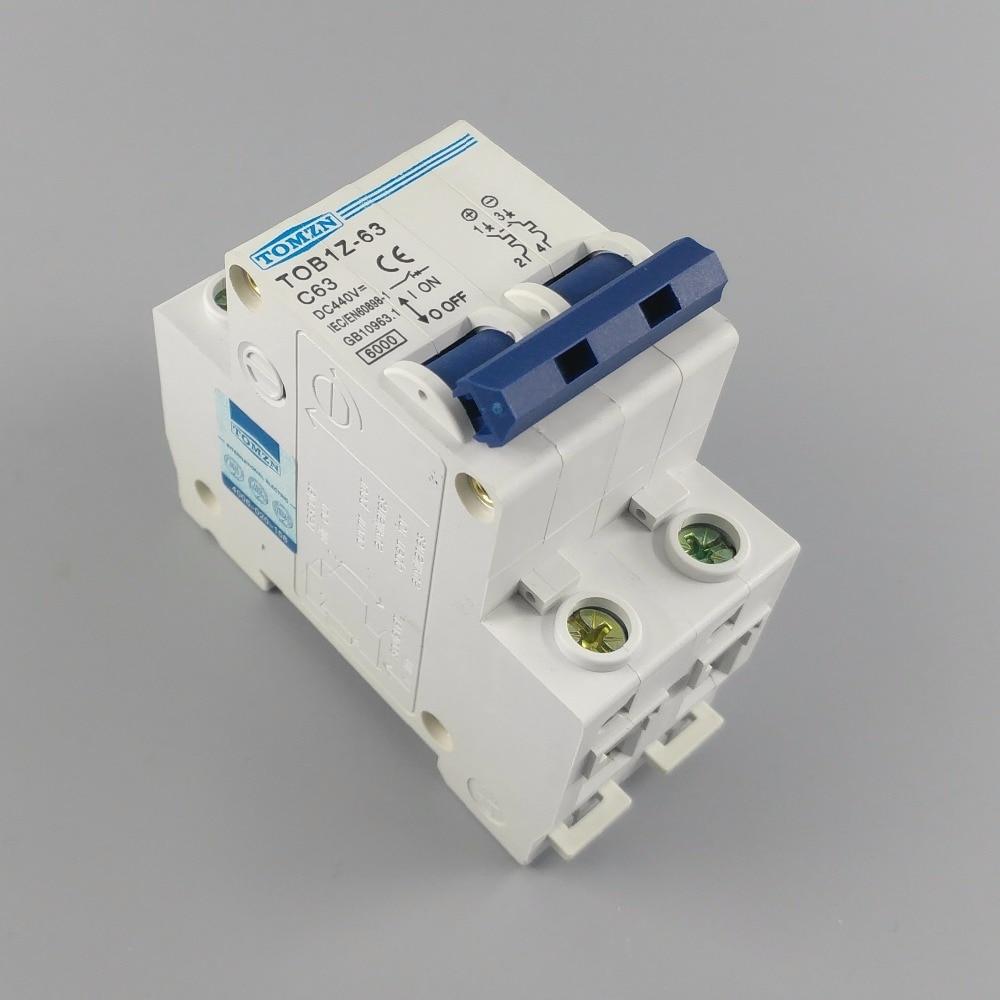 2P 63A DC 440V Circuit breaker MCB C curve 2p 10a dc 440v circuit breaker mcb