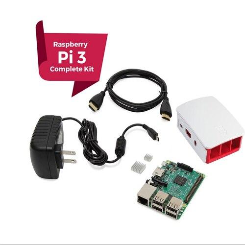 Raspberry Pi 3 COMPLETE Starter Kit, noir, framboise Ip3 Modèle B Ordinateur Barebones Carte Mère 64bit Quad-Core CPU 1 GB RA
