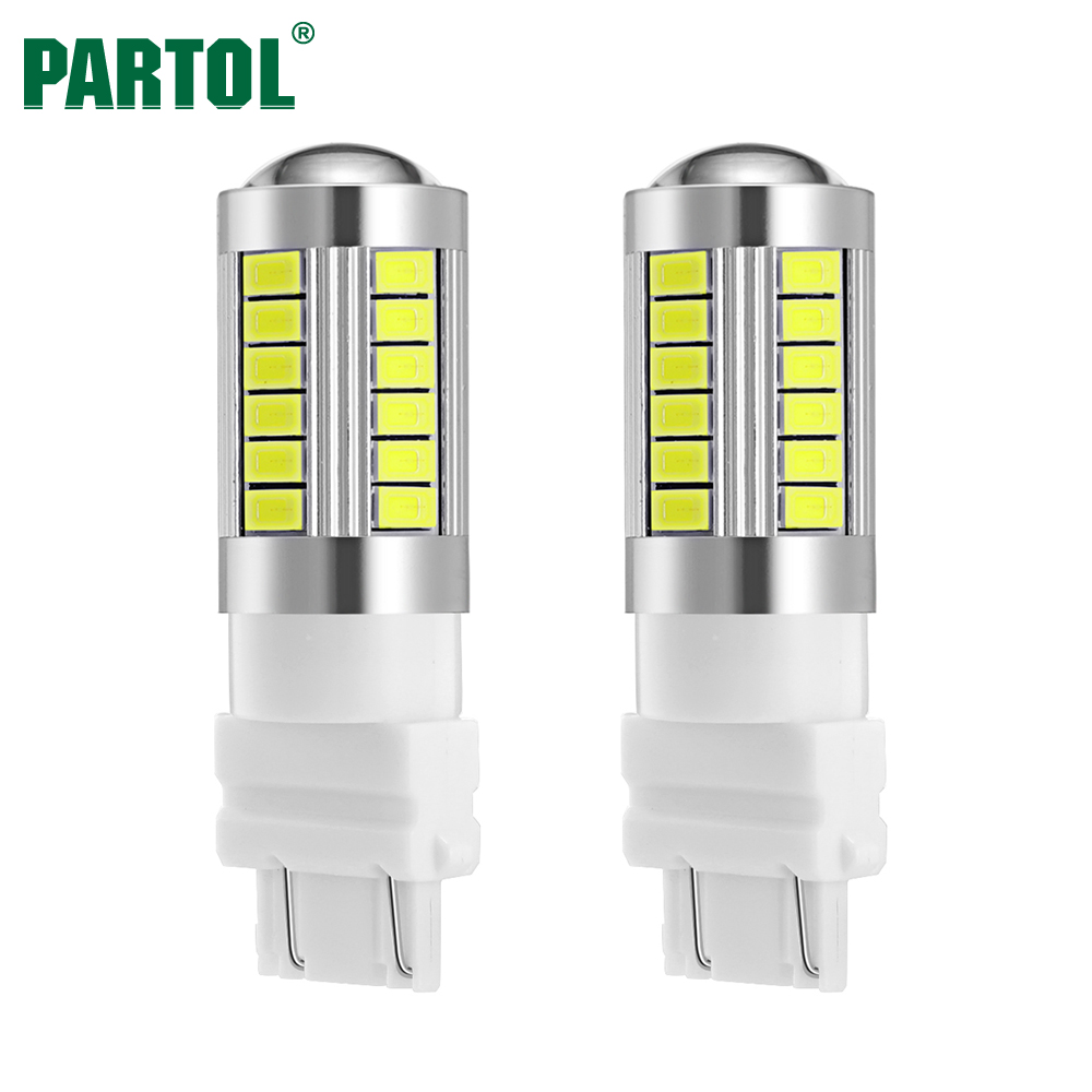 Partol 2 x T25 3157 P27/5W Car Reverse Lamp Brake Stop Light Car LED Light Bulbs Super Bright Automobile Turn Signals White 12V 2x 7 5w led white t20 7743 super bright car back up reverse tail light bulbs lamp