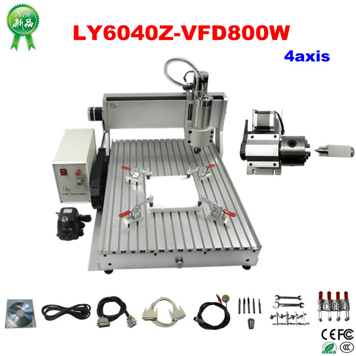 все цены на China cnc lathe machine 800W spindle 4 axis cnc router 6040 wood engraving machine for marble, wood, acrylic,metal онлайн