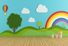 Laeacco Cartoon Rainbow Clouds Wall Interior Floor Baby Children Photography Background Customized Backdrops For Photo Studio