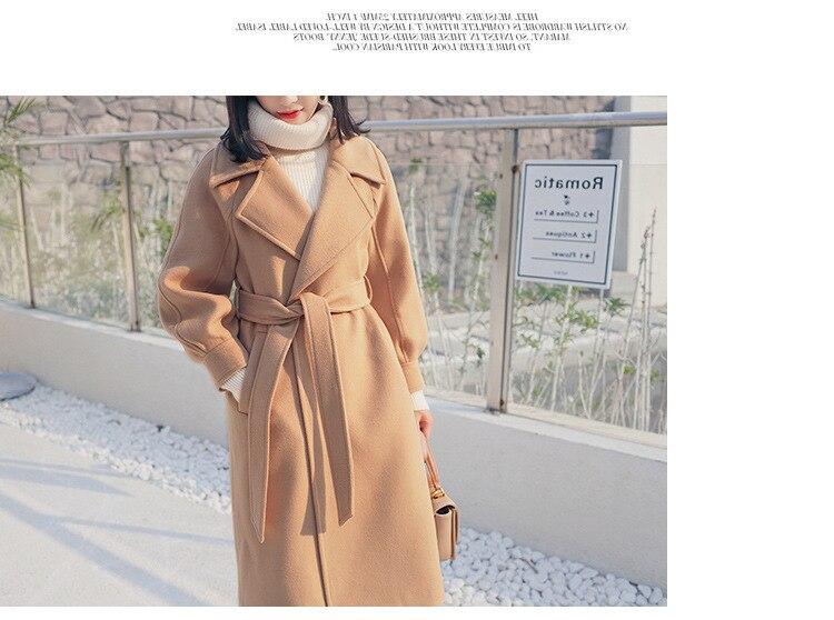 Plus Size Loose Warm Wool Blends Long Winter Coat Turn-down Collar Adjustable Belt Wool Coats Women Office Work Wear Elegant 14