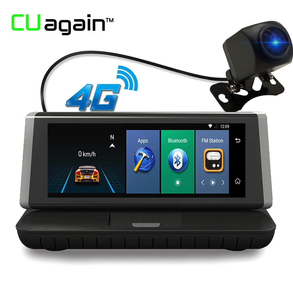 CUagain CU2 8'' Night Vision DVR GPS Navigation Dash Cam 4G Wifi 1080 FHD Rear View Camera Car Parking Bluetooth Video Recorder