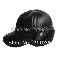 Hot Sale Male Quality Water Marten Velvet Ear Sheepskin Baseball Cap Thermal Genuine Winter Leather Hat