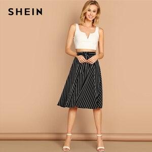 Image 4 - SHEIN Boho Black and White High Waist Striped Belted Shift A Line Skirt Womens 2019 Spring Elegant Casual Streetwear Midi Skirt