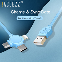 !ACCEZZ 3 in 1 USB Charger Data Cable For Xiaomi Samsung Huawei iPhone X 8 7 6s Universal Micro TypeC Fast Charging Cord