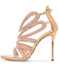 цены Luxury Crystal Embellished High Heel Sandal Woman Summer Open Toe Cutouts Thin Heels Shoes 2018 Gold Leather Sandal