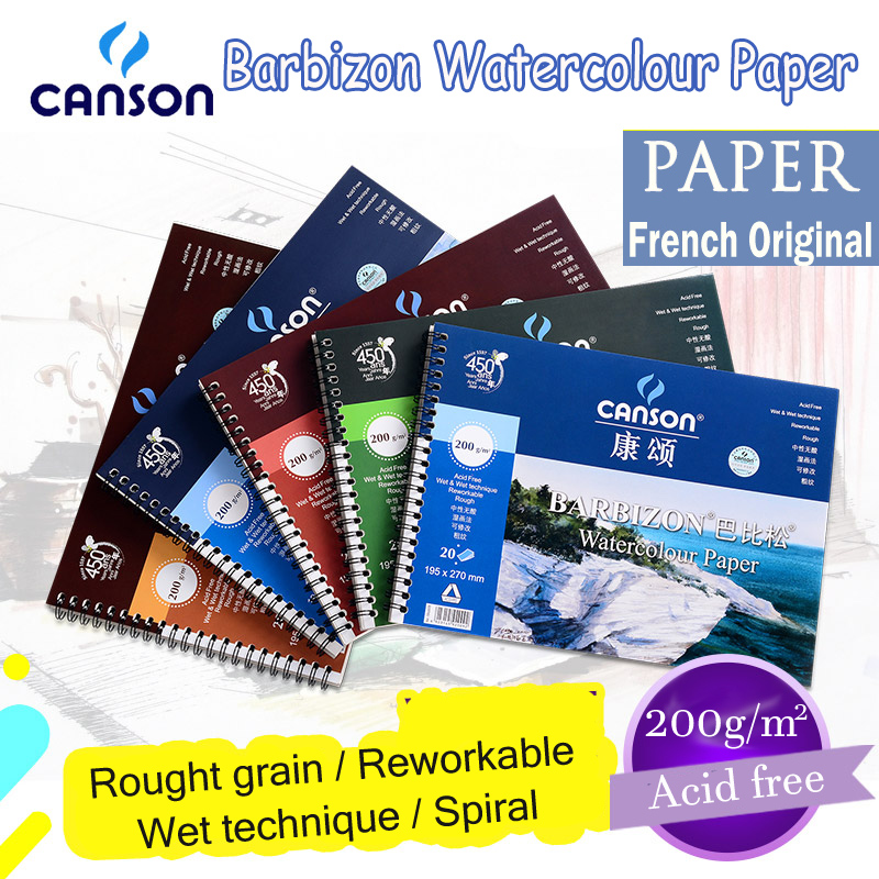 canson barbizon water soluble notpads France original paper for drawing watercolor pencil repeated washes wet spiral composition canson xl series dessin drawing pad top wire 160g fine grained spiral separator drawing diary vintage notepads micro to removal