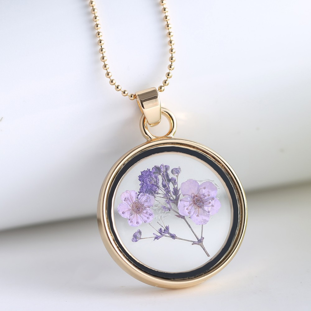 Memory locket gold chain necklaces pendants air purple dried memory locket gold chain necklaces pendants air purple dried flower necklace glass pendant necklace for woman jewerly aloadofball Images