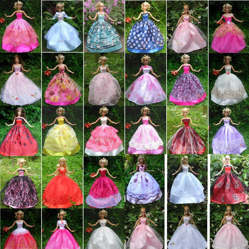 UCanaan 30 items= Dress + Shoes + Hangers Handmade Gown Dress Clothing For Barbie Doll 40 styles for choose one piece multi styles handmade for barbie dress fashion mini doll dress for barbie dolls party slim dress clothing accessories