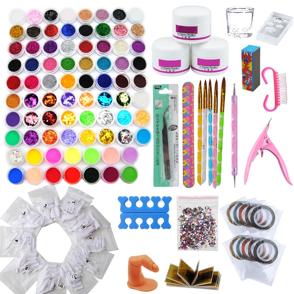 цена на 78Pcs Mixed Nail Glitter Powder Acrylic Nail Kit Manicure Set Decoration For Nail Art Sparkly Dust Acrylic UV Powder Dust Files