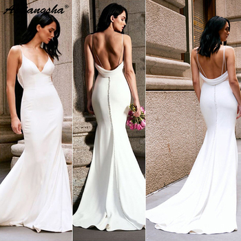White 2019 Evening Dresses Mermai V-neck Satin Party Long Prom Gown Evening G Robe De Soiree Vestido De Festa