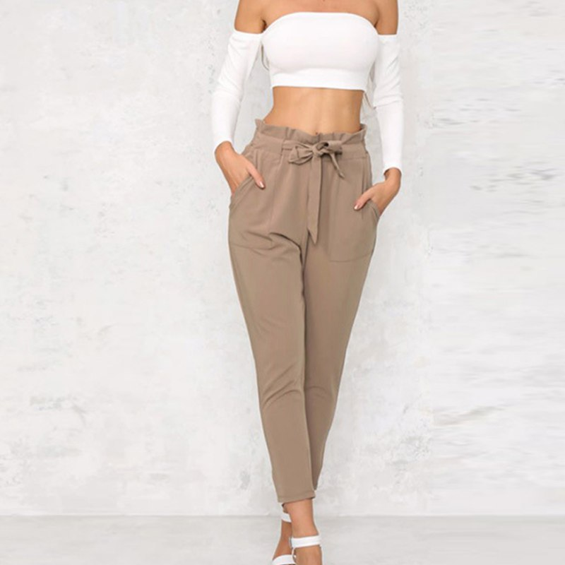 Casual Women High Waist Pants Bow Tie Drawstring Sweet Pockets Trousers