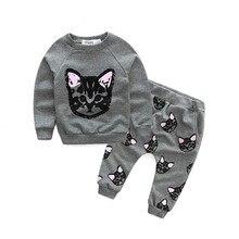 New Arrival Girls Clothing Set Children Cotton Cartoon Pattern Pullover Girls T-shirt +pants 2pcs Baby Sweatshirt Casual Clothes