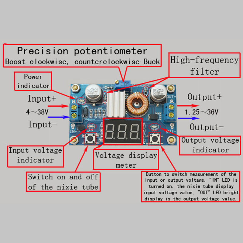5A DC-DC Adjustable Step-down Module with a Voltmeter lm2596 lm2596s led voltmeter dc dc step down step down adjustable power supply module with digital display for arduino diy kit